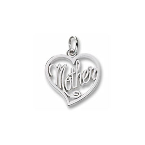 Mother Script Heart Charm by Forever Charms