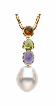 Multi-Colored Gemstone and Pearl Pendant with Twisted Rope Chain