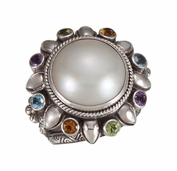 Multi Gemstone and Pearl Ring - Sterling Silver