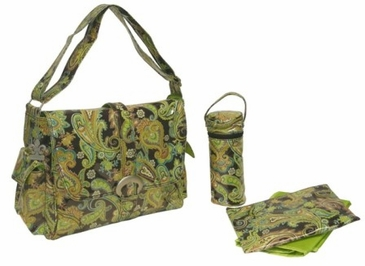 Multi Paisley Pistachio - Laminated Buckle Diaper Bag by Kalencom
