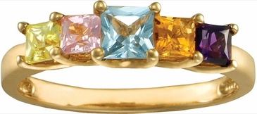 Multiple Princess Cut Birthstone Gold Ring - with Genuine Stones
