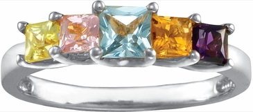 Multiple Princess Cut Birthstone Gold Ring - with Simulated Stones