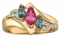 Multiple Swirl and Marquise Triplet Gold Ring - with Genuine Stones - click to Enlarge