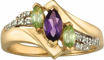 Multiple Swirl and Marquise Triplet Gold Ring - with Genuine Stones