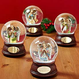 Musical Glitter Domes with Hand-Painted Angels - Personalized