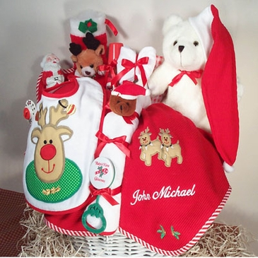 """My First Christmas"" Baby Holiday Basket (Personalized)"