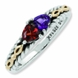 Heart-to-Heart Antiqued Family Birthstone Ring - click to Enlarge