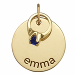 Name Charm with Birthstone Ring Necklace - Gold