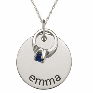 Name Charm with Birthstone Ring Necklace - Sterling Silver