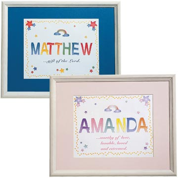 Name Meaning Artwork in Wooden Frame