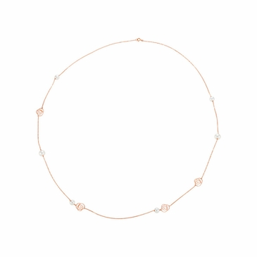 Natural 14K Rose 32 Inch Necklace with Floral Design