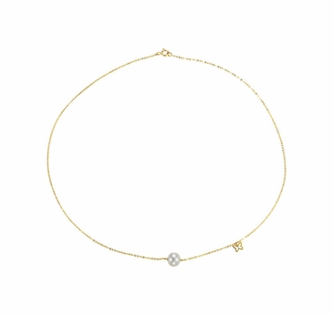 Natural 14K Yellow Cultured Pearl Bracelet with Butterfly Design