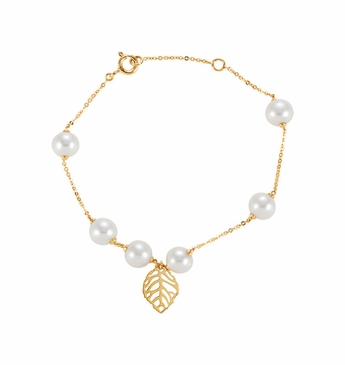 Natural 14K Yellow Cultured Pearl Bracelet with Leaf Design
