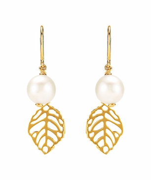 Natural 14K Yellow Dangle Earrings with Leaf Design
