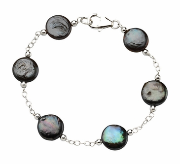 Natural Black Coin Pearl Station Necklace/Bracelet Sterling Silver