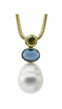 Natural Circle Pearl, Peridot, & Blue Topaz 14K Gold Pendant