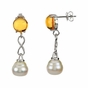 Natural Pearl and Citrine Earrings - click to Enlarge