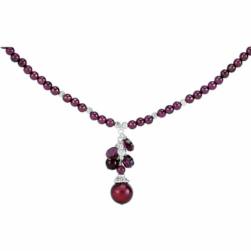 Natural Pearl and Gemstone Necklace- Sterling Silver