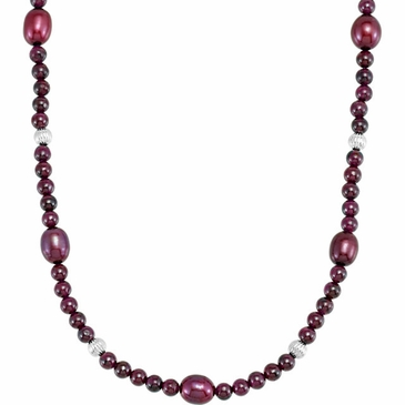 Natural Pearl and Rhodolite Garnet Strand- 36 Inch