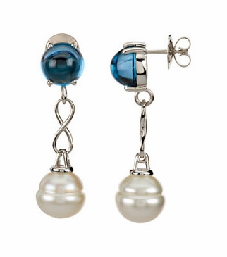 Natural Pearl Earrings with Genuine London Blue Topaz