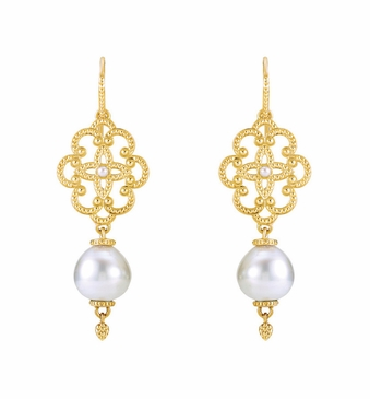 Natural Pearl Earrings with Granulated Design - 14K Gold