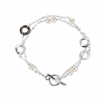 Natural Pearl Fashion Round Bracelet with Toggle - Sterling Silver