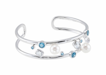 Natural Pearl Mingled With Authentic Swiss Blue Topaz And Crystal Cuff