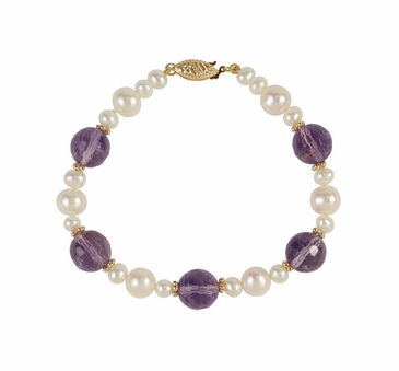 Natural Pearl & Purple Amethyst Armlet - 7.5 Inch