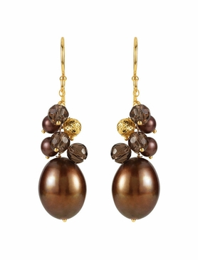 Natural Pearl & Quartz Earrings - Yellow Gold