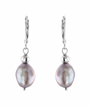 Natural Pearl Sterling Silver Earrings with Lever Back