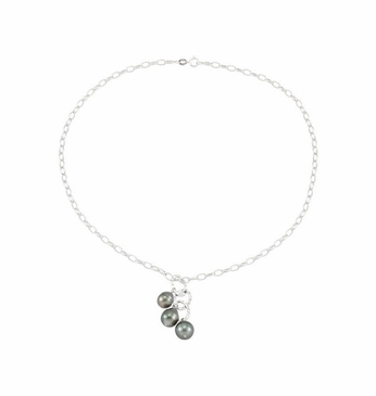 Natural Pearl Tahitian Sterling Silver Necklace