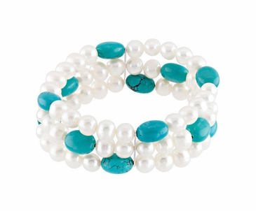 Natural Pearl With Genuine Turquoise Stretch Bracelet