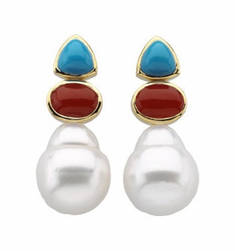 Natural Round Pearl Turquoise & Red Gemstone Studded Earrings