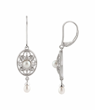Natural Sterling Silver .05 CTW Diamond & Cultured Pearl Earrings