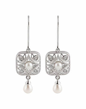Natural Sterling Silver .08 CTW Diamond & Cultured Pearl Earrings with Stone