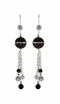 Natural Sterling Silver Earrings-CZ, Pearl,Onyx and Crystal