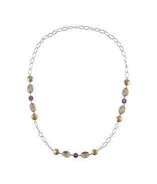 Natural Sterling Silver Multi-Gemstone & Dyed Cultured Pearl Necklace