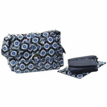 Navy Medallion Midi Coated Buckle Diaper Bag by Kalencom