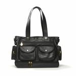 Nest Faux Leather North South Diaper Bag - Black