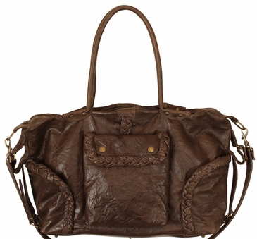 Not Rational Kelly Chocolate Wrinkle Leather Diaper Bag  (SALE)