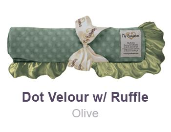 Olive Dot Velour with Ruffle Trim Blanket by My Blankee