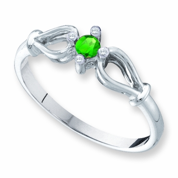 Open Heart Diamond and Birthstone Ring - with Genuine Stones