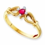 Open Heart Diamond and Birthstone Ring - with Genuine Stones - click to Enlarge