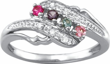 Open Swirl Multiple Birthstone Gold Ring - with Simulated Stones