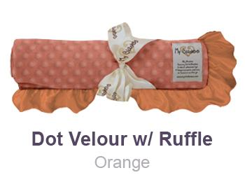 Orange Dot Velour with Ruffle Trim Blanket by My Blankee