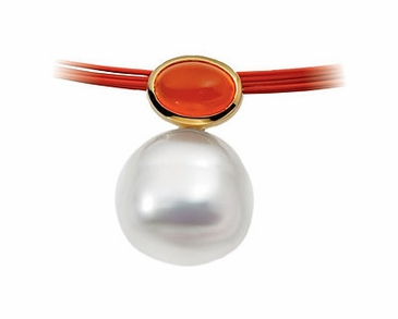 Ornate Carnelian Pendant with South sea cultured pearl