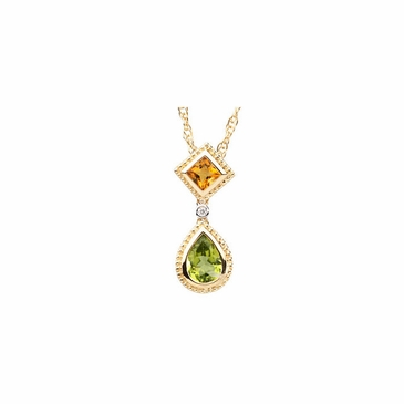 Ornate Citrine and Peridot Diamond Pendant