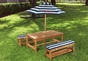 Outdoor Table & Bench Set w/ Cushions/Umbrella - click to Enlarge