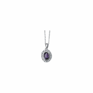 Oval Amethyst and Diamond Necklace
