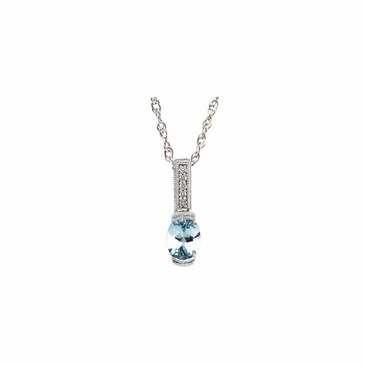 Oval Aquamarine and Diamond Pendant